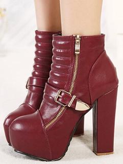 Korean Hot Sale Street Wear Chunky Heel Side Zipper Boot Round Toe Buckle-loop Fashion Classic Look Boot For Sale