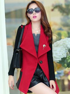 2014 Korea Plus Size Coats Color Block Long Sleeve One Button Coats Woolen Street Style Coats