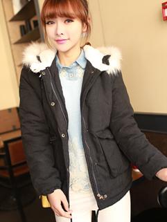 Winter Korean New Arrival Long Sleeve Hooded Collar Coat Zip Up Button Vertical Pocket Black Color Coat