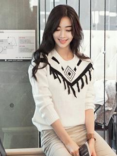 2014 Hot Selling Korean Pullover Long Sleeve Sweater Tassel White Color Slim Wear Printed Casual Sweater
