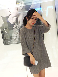 2014 Autumn Classic Look Woolen Long Sleeve Dress Pullover Gray Color Round Neck Easy Match Dress For Sale