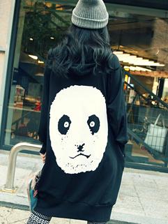 Chinese Cute Fashion Hoodies Panda Pattern Loose MD-Long Top Black Cotton Hoodies