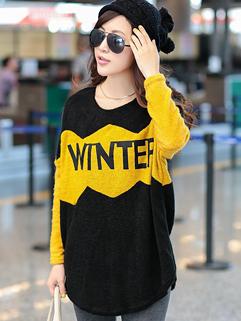 Korea Fashion 2014 Hoodies Color Block Loose Long Sleeve Top Woolen Yellow Hoodies