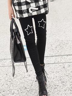 2014 Hot Selling Leggings Star Pattern Long Skinny Leggings Black Street Style Leggings