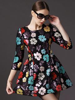 European Style Women Dress Color Block Floral Pattern Ruffles Three-quarter Sleeve Short Dress S-XL