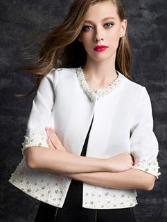 2014 Spring Autumn Versatile Short Coats Pure Color Half Sleeve Round Collar 2 Colors Coats S-XL