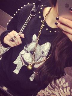 2014 Japanese Versatile Style Girls Hoodies Printed Pattern Round Collar Long Sleeve Cotton Casual Black Hoodies