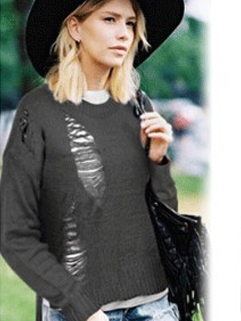 2014 New Fashion Hollow-out Pullover Sweater Scratch Long Sleeve Fitted All Match Gray Color One Size Sweater