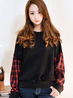 2014 Korean Sweet Girls Hoodies Color Block Round Collar Long Sleeve Lycra Casual Black Hoodies