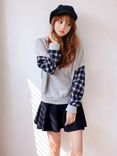 2014 Korean Sweet Girls Hoodies Color Block Round Collar Long Sleeve Lycra Casual Light Gray Hoodies