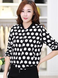 2014 Autumn Slim Cut Coats Dot Pattern Long Sleeve Zipper Coats Street Style Short Coats