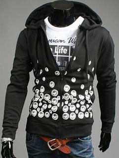 2014 New Simple Men Hoodies Pure Color Printed Pattern Long Sleeve Hooded 3 Colors Hoodies M-XXL