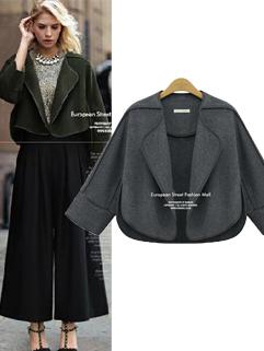 Hot Selling Western Coats Solid Color Loose Lapel Coats Short Woolen Coats