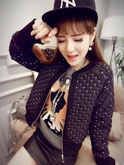 2014 Fashion Black Color Long Sleeve O Neck Coat Plaid Pattern Beading Slim Wear All Match Coat