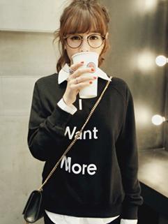 Autumn Winter New Brand Black Color Korean College Pullover Hoodie Letter Printed Add Wool Casual Hoodie