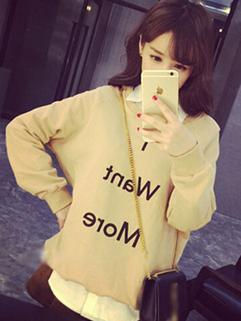 2014 To Youth Korean Preppy O Neck Add Wool Long Sleeve Hoodie Fresh Letter Printed Pullover Slim Wear Hoodie