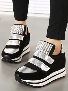 2014 Korean Sporty Flats Pure Color Magic Tape Sequined Round Toe Flat Heel Black Flats 35-39