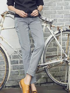 2014 Autumn New Hot Selling Men Pants Pure Color Stripe Pattern Full Long Blue Pants M-XL