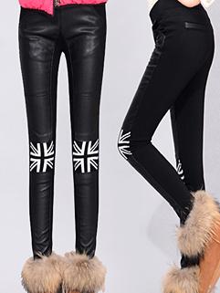 2014 Chic Fashion Leggings Skull Pattern Long Skinny Pu Matching Street Style Leggings