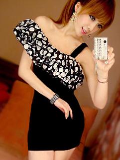 Korea Classical Dress Black Off One Shoulders Dot Pattern Boat Collar Dress Irregular Mid Waist Dress