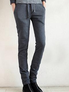 Korean Hot Sale Dark Gray Color Long Pant Vertical Pocket Zipper Fly Slim Wear Add Wool Plus Size Casual Pant