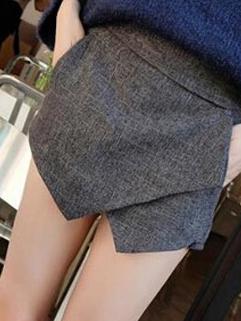 2014 Autumn Versatile Shorts Color Block Woolen Elastic Waist Short Pants S M