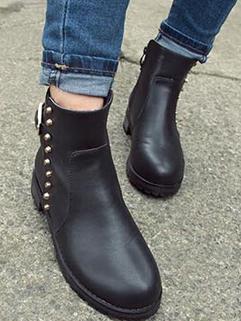 Korean Stylenanda Chic Design Black Color Martin Boot Flat Heel Rivets Decorated Side Zipper Round Toe Boot