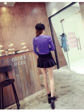 New Coming Women Sweaters Pure Color Dot Pattern Gauze Splicing Round Collar Long Sleeve Purple Sweaters