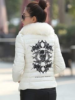Wholesale 2014 Winter Coats Skull Pattern Long Sleeve Fitted Coats Beige Street Style Coats