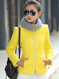 Wholesale Winter Women Coats Color Block Long Sleeve Zipper Coats Yellow Street Style Coats
