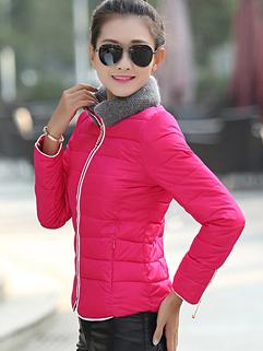 2014 Newest Korea Coats Color Block Long Sleeve Zipper Coats Rose Pockets Coats