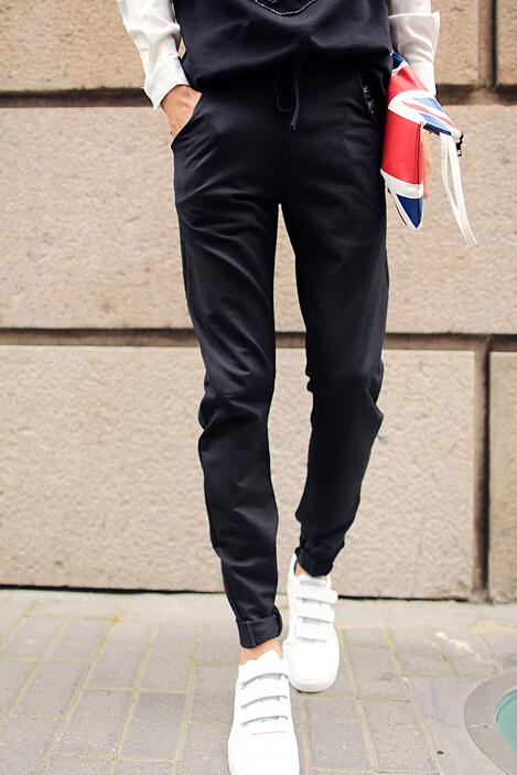 2014 New Brand Korean Slim Wear Black Color Long Pant Chic Design Pulling Rope PU Split Joint Pocket Oversize Pant