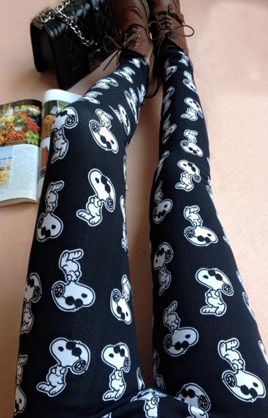 2014 Sweet Girls Legging Full Long Pure Color Snoopy Pattern Mid Waist Skinny Leggings