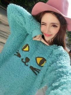 Korea Fashion 2014 Sweater Loose Embroidery Cat Pattern Top Street Style Autumn Sweater