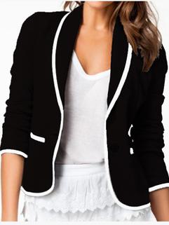 Elegant Fashion Blazers Pockets Long Sleeve Fitted Blazers Work Women Black Blazers