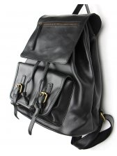 New Brand Personality Cozy Black Color Pulling Ropes Buckle-loop Backpack Cover Zip Up Two Shoulder Backpack