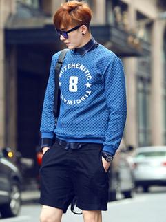 Korean Street Wear Fashion Men Blue Color Long Sleeve Slim Wear O Neck Hoodie Pullover Cotton Plus Size Hoodie