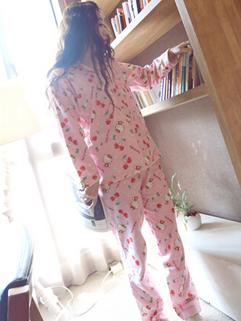 2014 Hot Popular Pajamas Printed Pattern Lapel Comfortable Cotton Long Sleeve Pink Pajamas