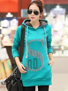 2014 Korea Fashion Hoodies Letter Pattern MD-Long Hooded Top Green Street Style Hoodies