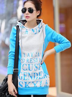 Wholesale In Stock Hoodies Letter Pattern Loose MD-Long Top Hooded Blue Casual Hoodies