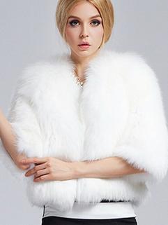 2014 Western Women Thicken Short Coats Pure Color Cardigan Half Sleeve Fur White Coats M L