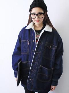 2014 New Korean Peppy Style Denim Jackets Long Sleeve Lapel Thicken Long Denim Jackets S-XL