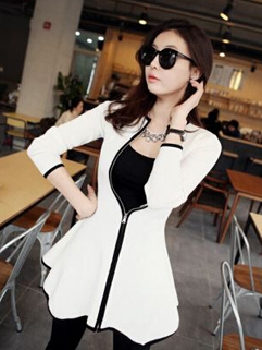 Graceful Lady White Color Long Sleeve Ruffle Zip Up Chic Design Dress Smart Waist Charming One Size Dress