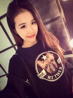 2014 Sweet Style Cute Hoodies Printed Dog Pattern Round Collar Long Sleeve Casual Black Hoodies