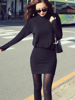 Korean High Quality Long Sleeve All Match Cozy Black Color Dress Turtle Neck Smart Waist Slim Wear Wrap Dress