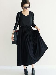 Korean Classic Look Graceful Black Color Drawstring Waist Dress Pullover Smart Waist Slim Wear High Quality Maxi Dress
