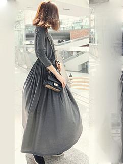 All Match Korean Hot Sale Elegant Gray Color Drawstring Waist Dress Pullover Slim Wear High Quality Retro Maxi Dress