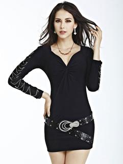 New European Women Party Dress Pure Color V Neck Long Sleeve Short Black Dress