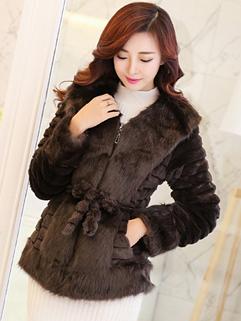 Unique Design 2014 Coats Pure Color V-Neck Bandage Coats Long Sleeve Coffee Sweet Coats