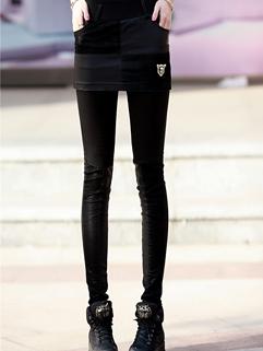 2014 Fashion Cool Leggings PU Matching Long Skinny Black Street Style Fake Two Pieces Leggings